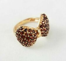 3.42 Ct Round Cut Red Garnet 18k Rose Gold Over Silver Bow Shape Ring Sz 7