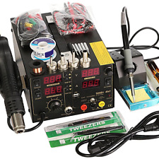 909D+ Rework Soldering Station Set Hot Heat Air Nozzle DC USB Power Supply 220V