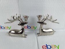 Pair Deer Reindeer Candle Holders Lying Resting Deer Home Decor