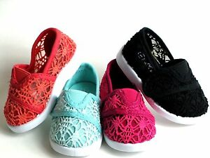 New Baby Toddler/Infant Girls Classic Crochet Slip On Flat Shoes Size 3-8