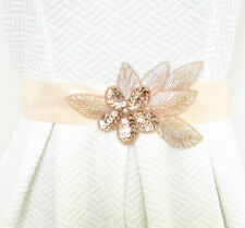 Rose Gold & Peach Satin Belt Small Medium Large XL Bridal Prom Vintage 1920s 3AY