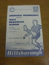 31/10/1959 Sheffield Wednesday V WEST BROMWICH ALBION (luce Rusty in Fiocco, scor