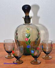 Likör Schnaps Set Karaffe Flasche Gläser Rauch Glas Email Malerei Blumen 50/60er