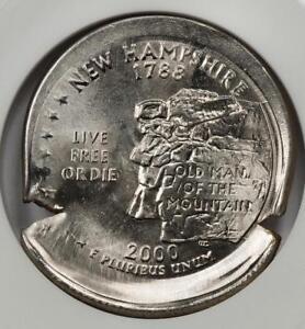 2000 ANACS MS63 Mushroom Broadstruck Indent New Hampshire Quarter Mint Error
