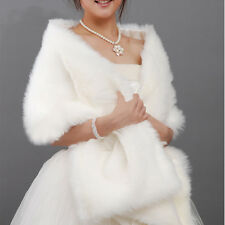 Elegant White Faux Fur Stole Wrap Shrug Bridal Wedding Cocktail Shawl Scarf