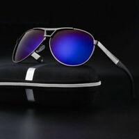 With Case Mens Polarized Spring Leg Sunglasses Retro Pilot Outdoor Metal Glasses