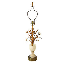 VTG Italian Alabaster Pineapple Tole Wheat Sheaf Lamp Hollywood Regency Marble
