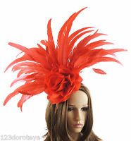 Red Feather Fascinator Hat for weddings/ascot/proms With Headband G1