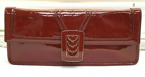 Cole Haan Red Patent Leather & Gold Buckle Satchel Hand Bag Limited Edition Rare