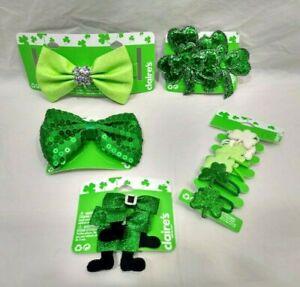 St Patricks Day Hair Accessories Green Bows Leprechaun Feet 5 Hair Barrette Clip