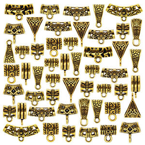 20PCS ASSORTED MIXED ALLOY GOLD BAIL TUBE SPACER BEADS CHARMS JEWELRY FINDINGS