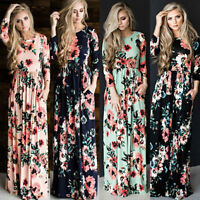 Womens Floral Print Long Sleeve Boho Dress Ladies Evening Party Long Maxi Dress#