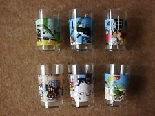 Lovely Tintin Glasses - Amora 1974 Complete Set of 6 - very rare.