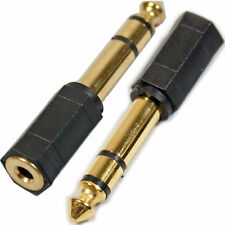 """GOLD 6.35mm ¼"""" Male to 3.5mm AUX Female Adapter – Stereo Amp Headphone Converter"""
