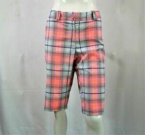 NIKE Golf Tour Performance Dri-Fit women's Pink Plaid Shorts Sz 10