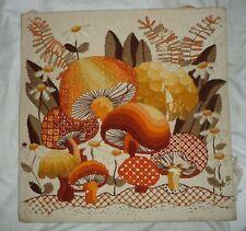 """Vintage Fantastic Mushroom Crewel Embroidery Art & Craft large 16"""" Square #2750"""