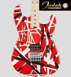 EVH Striped Series 6 String Electric Guitar - Red White Black Frankenstrat