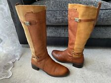 Etienne Aigner  brown leather tall boots, with buckles  USA size 10 M
