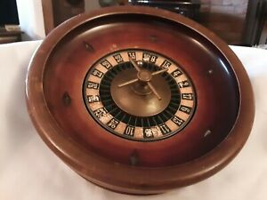VINTAGE WOODEN ROULETTE WHEEL WITH ORIGINAL BALL