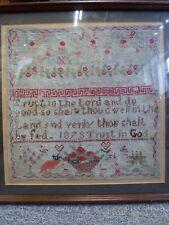 Tapisserie Alphabet Sampler 138 ans datée du 1879 antique vintage cousu