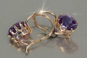 3.00Ct Oval Cut Amethyst Excellent Drop & Dangle Earrings 14K Yellow Gold Finish