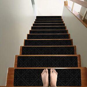 "TreadSafe Carpet Stair Treads Non-Slip 8""x30"" 15 pc Non Slip Backing Charcoal"
