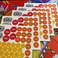 POKEMON TCG! 5x Battle Academy Damage Counter GX Marker SHEETS = 200+ counters!