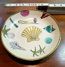 "A.C.F. Japanese Porcelain Ware Nautical Shells Trinket Decor Bowl 7.5"" Brass"