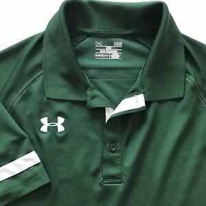 UNDER ARMOUR POLO SHIRT Golf Heat Gear Hunter Green W/white Trim Mens Loose Sz L