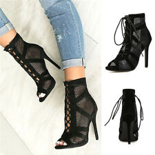 Sexy Ladies Lace Up Mesh Ankle Boot Hollow Out Peep Toe Sandal Women Party Shoes