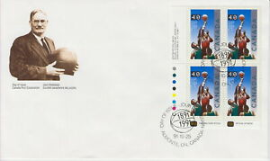 CANADA #1343 40¢ BASKETBALL, JAMES NAISMITH LL PLATE BLOCK FIRST DAY COVER