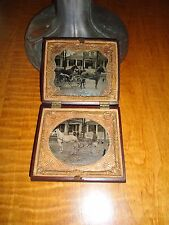 Phenomenal Double 1/6 P. Tintypes of Outside Horses & Buggy's, People,Houses,