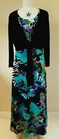 Tommy & Kate Purple Floral Women's Maxi Dress & Black Shrug Size 16 BNWT