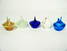 "5 Different Colored Glass Chicken on Nest 2.5"" Hen Trinket Boxes ~ Open Salts"