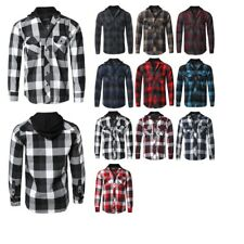 FashionOutfit Men's Flannel Woven Long Sleeves Detachable Hood Button Down Shirt