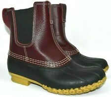 LL BEAN CHELSEA Slip-On Maroon Leather Duck Boots Women US Size 7 M s3