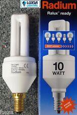 2X 10 WATT SES RADIUM RALUX EFFICIENT 10W  - E14 SMALL SCREW WARM WHITE = 50W