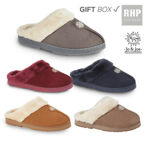 Ladies Womens Girls Slipper Mule Fur Lined slippers moccasin size 3 4 5 6 7 8