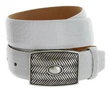 """Crossweave Italian Belt Buckle Genuine Leather Casual Jean Belt. 1-3/8"""" Wide"""