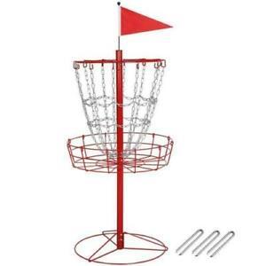 Portable Metal Disc Golf Basket Disc Golf Target Practice Basket 12 Chain Red