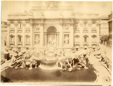 Italie, Rome, Roma, fontana di Trevi dall' alto  Vintage albumen print