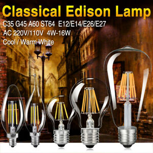 E27 4/8/12/16W Edison Retro Filament LED Bulb Vintage Candle Light G45 A60 Lamps
