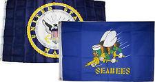 3x5 3'x5' Wholesale Combo Set U.S. Navy Crest & Navy Seabees Blue Flags Flag