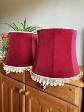 Pair Vintage Rich Red Velvet Lampshades With Cream Tassels Fringing Boudoir 14""