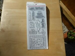 CLEAR RUBBER STAMPS HAPPY BIRTHDAY CAKE, BALLOON, CANDLE, IDEAL FOR CARD MAKING