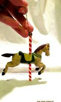 Vintage Carousel Gray Horse Christmas Ornament Red Green Saddle
