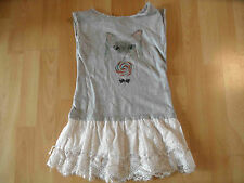 Little paul & joe robe chat avec dentelle gris blanc taille 8 J top bi216