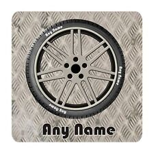 PERSONALISED ALOY WHEEL AND TYRE PRINT 9CM X 9CM SQUARE MDF COASTER