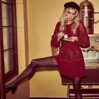 For Love & Lemons Women's Abella Lace Bow Mini Summer Dress Carmine S,BNWT