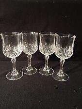 "Crystal-Cut 4 Wine Glasses GOBLET Stemware 6 1/2"" Tall Beveled 6 oz VERY PRETTY"